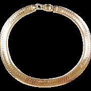 "WIDE 14k Gold Herringbone Collar Necklace ~ Heavy ~ 18"" ~ 103.9 Grams"