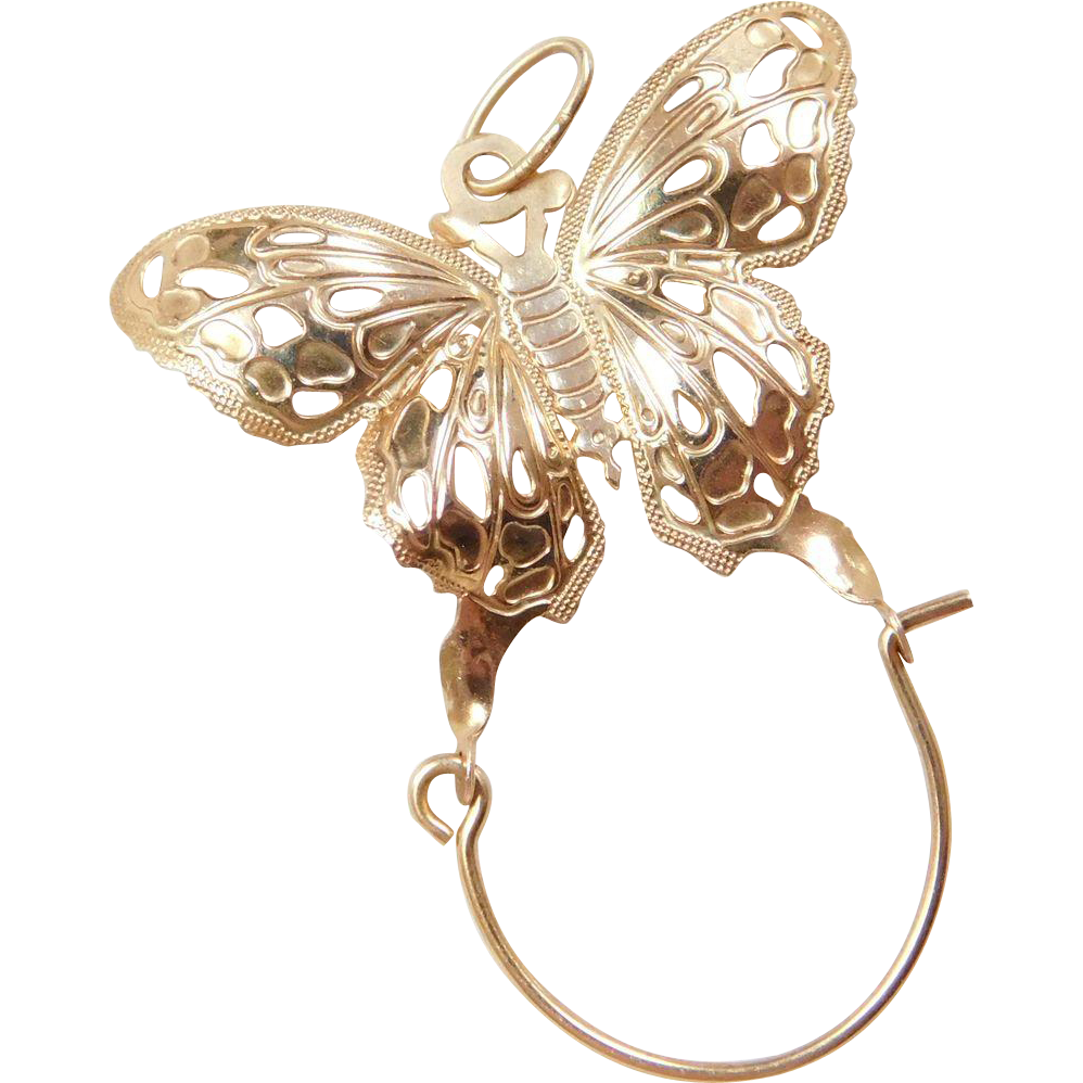 vintage 14k gold butterfly charm holder pendant from