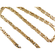 "Vintage 14k Gold Heavy Byzantine Chain ~ 18 1/2"" ~ 50.9 Grams"