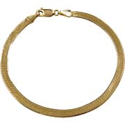 "Vintage 14k Gold Herringbone Bracelet ~ 7"""