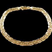 """Vintage 14k Gold Flat Marine Anchor Link Bracelet 8 1/4"""""""