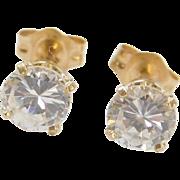 Vintage 14k Gold 1.10 ctw Faux Diamond Stud Earrings