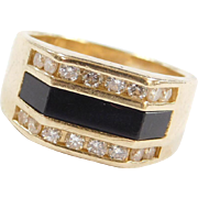Vintage 14k Gold Men's Onyx and Diamond Ring