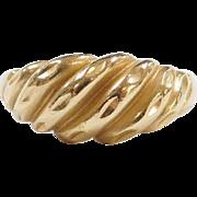 Vintage 14k Gold Diamond Cut Shrimp Ring