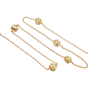 "Vintage 18k Gold Bead Necklace ~ 17"" ~ 7.7 Grams"