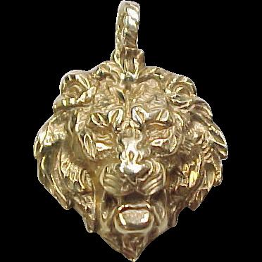 vintage 14k gold lion head pendant sold on ruby lane