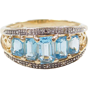 Vintage 14k Gold Two-Tone Blue Topaz and Diamond Ring