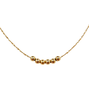 """Vintage 14k Gold Long Beaded Necklace ~ 24"""" ~ 3.2 Grams"""