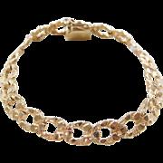"""Vintage 14k Gold Nugget Link Bracelet ~ 6 3/4"""""""