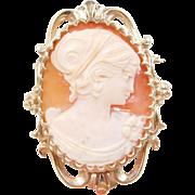 Vintage 14k Gold Cameo Pin / Pendant