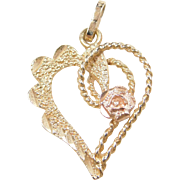 Vintage 14k Gold Two-Tone Heart and Flower Charm