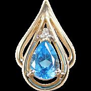 Vintage 14k Gold Blue Topaz and Diamond Pendant