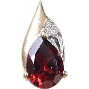 Vintage 14k Gold Garnet and Diamond Pendant