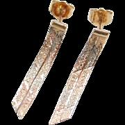 Vintage 14k Gold Tri-Color Earrings