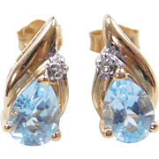 Vintage 14k Gold Blue Topaz and Diamond Stud Earrings