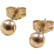 Vintage 14k Gold 4mm Ball Stud Earrings