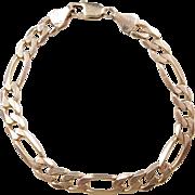 """Vintage 14k Gold Gents Figaro Link Bracelet ~ 8 3/4"""""""