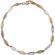 """Vintage 14k Gold Two-Tone Bracelet ~ 7"""""""
