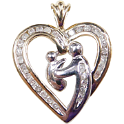 Vintage 10k Gold Two-Tone Diamond Mother and Child Heart Pendant