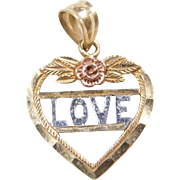 Vintage 10k Gold Tri-Color Love Heart Charm