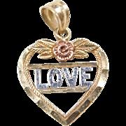 Vintage 10k Gold Tri-Color Love Heart Charm