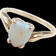 Vintage 10k Gold Opal Heart Ring