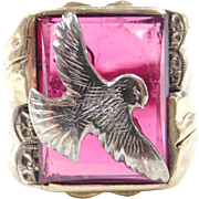 Vintage 10k Gold Gents Two-Tone Created Ruby Eagle Ring