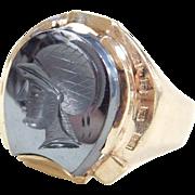 Vintage 10k Gold Gents Hematite Intaglio Ring