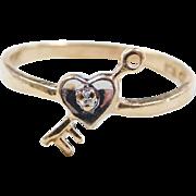 Vintage 10k Gold Two-Tone Heart Key Diamond Ring