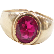 Vintage 14k Gold Gents Ruby Ring