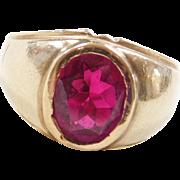 Vintage 14k Gold Gents Ruby Ring