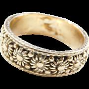 Vintage 14k Gold Gents Flower Band Ring