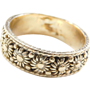 Vintage 14k Gold Gents Flower Band Ring