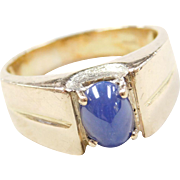Vintage 14k Gold Gents Blue Star Sapphire Ring