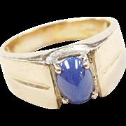 Vintage 14k Gold Gents Blue Star Sapphire Ring