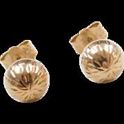 Vintage 14k Gold Diamond Cut Ball Stud Earrings