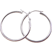 Vintage 14k White Gold Hoop Earrings