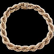 """Vintage 14k Gold Thick Rope Bracelet ~ 8 1/2"""""""