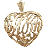Vintage 14k Gold Heart MOM Charm