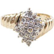Vintage 10k Gold Two-Tone Diamond Ring