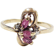 Vintage 10k Gold Ruby and Diamond Ring