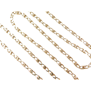 "Vintage 18k Gold Long Fancy Link Chain  ~ 24"" ~ 13.2 Grams"