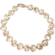 Vintage 10k Gold Two-Tone MOM Heart & Flower Bracelet ~ 7""