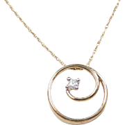Vintage 10k Gold Diamond Necklace ~ 18""