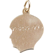 Vintage 14k Gold Boy Head Charm ~ Engraved 7-23-76