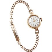 Vintage 14k Gold Gruen Ladies Wrist Watch ~ Adjustable Gold Filled Strap