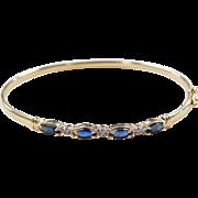 "Vintage 14k Gold Sapphire and Diamond Bangle Bracelet ~ 7"""