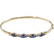 Vintage 14k Gold Sapphire and Diamond Bangle Bracelet ~ 7""