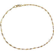 """Vintage 14k Gold Two-Tone Twisted Singapore Anklet ~ 10"""""""