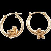 Vintage 14k Gold Angel Hoop Earrings